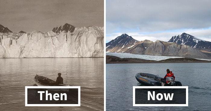 Šokujúce fotografie porovnávajú veľkosť ľadovcov v Škandinávií teraz a pred sto rokmi
